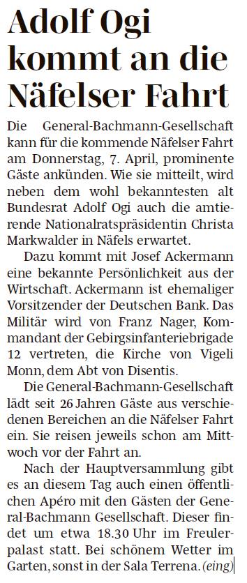 20160317 - Südostschweiz - Näfelser Fahrt 2016 Gäste