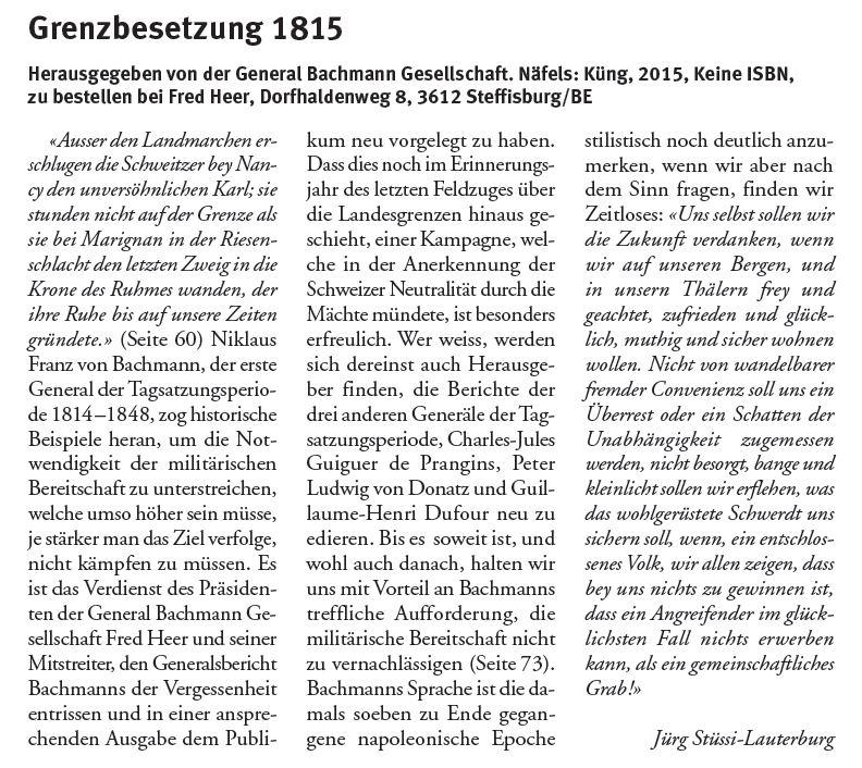 Grenzbesetzung - Buchbesprechung Jürg Stüssi-Lauterburg