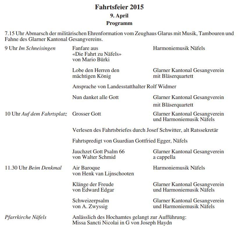 Näfelser Fahrt 2015 Programm